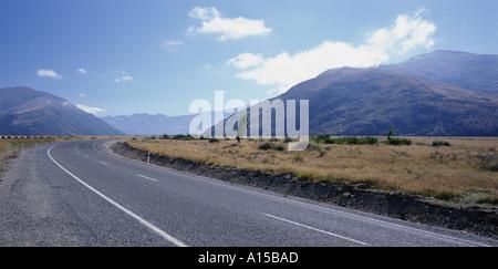 Empty road near Fairlight New Zealand - Stock Photo