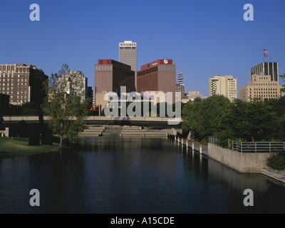 Omaha Nebraska USA city skyline view from Central Park Mall - Stock Photo