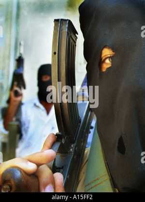 Palestinian Hamas supporters display a show of force at a protest in Gaza Monday October 16 2000. Many Palestinians - Stock Photo