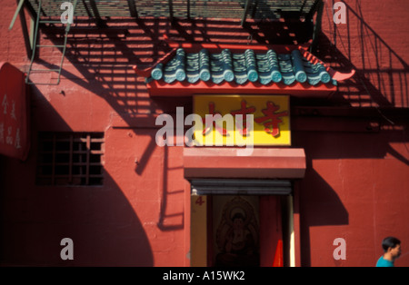 Red house in Chinatown in New York City - Stock Photo
