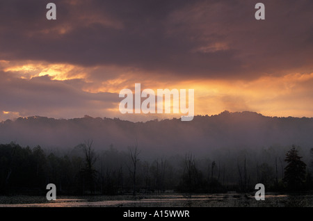 Morning sunrise at the beaver pond in Cuyahoga Valley National Park - Stock Photo