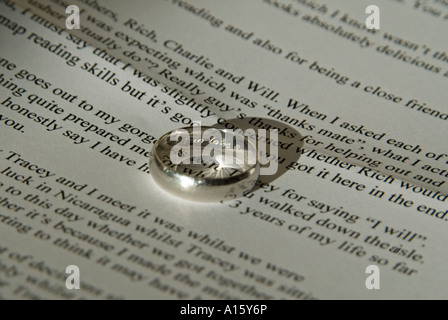 Horizontal Close Up Of A Grooms Inscribed Platinum Wedding Ring And His Printed Speech Ready For