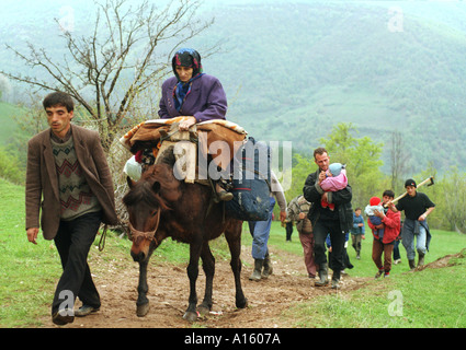 Ethnic Albanian refugees from Kosovo from the Brahimi family leave a village near the border of Kosovo in Macedonia - Stock Photo