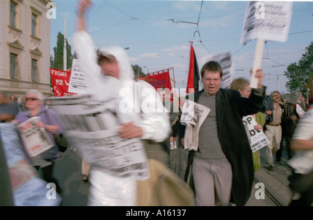 Protesters and activists run through the streets of Prague Sunday September 24 2000 in Czech Republic during an - Stock Photo