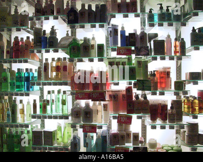 Colourful lotion bottles on a drugstore display in the Grand Central Terminal New York City NY USA - Stock Photo