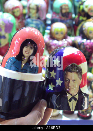 Locally made Russian nesting dolls showing Bill Clinton and Monica Levinsky at the Grand Bazaar Istanbul Turkey - Stock Photo