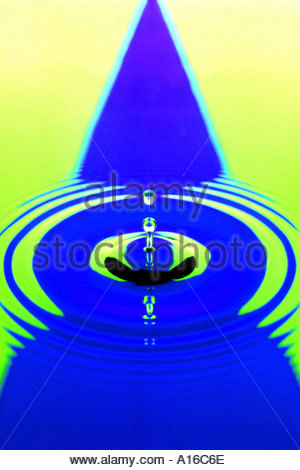 Water drop and ripples on blue and lime green leading to a vanishing point  forming in the background. - Stock Photo