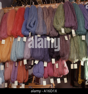 Hand spun yarn from sheep's wool, finished after being hand dyed - Stock Photo