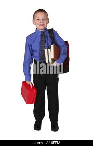 Young Boy Ready for First Day of School - Stock Photo