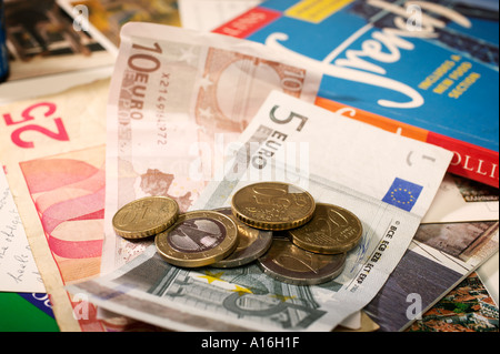Euro currency among holiday items including French phrase book - Stock Photo