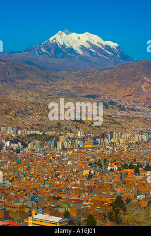 View of La Paz with Mount Illimani in the background - Stock Photo