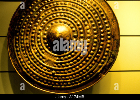Dublin Ireland museum buckler shield escutcheon Middle Ages - Stock Photo