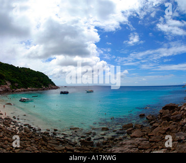 A bamboo Bungalow Looks Over on a Perfect Beach in Koh Tao, tranquil, tranquility, tropical, paradise, pristine, - Stock Photo