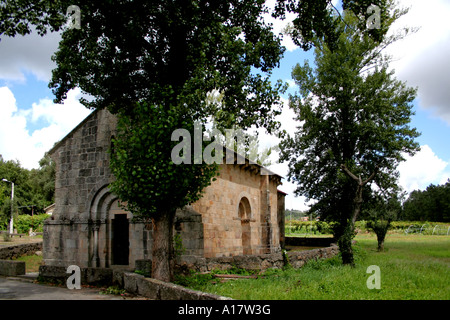Santa Eulalia romanesque monastery in Arnoso, Vila Nova de Famalicao, Portugal. - Stock Photo