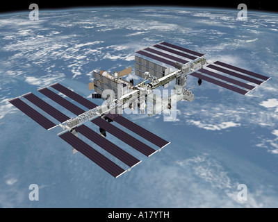 October 2006 - Computer generated artist's rendering of the completed International Space Station. - Stock Photo