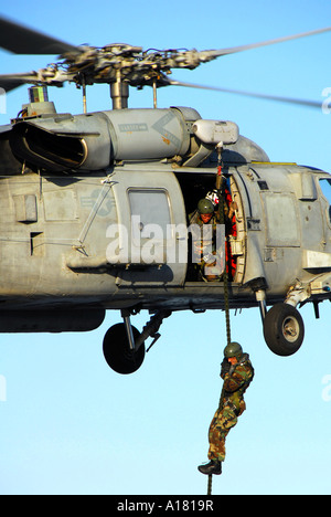 Explosive Ordnance Disposal Technician fast ropes from an SH-60 Seahawk. - Stock Photo