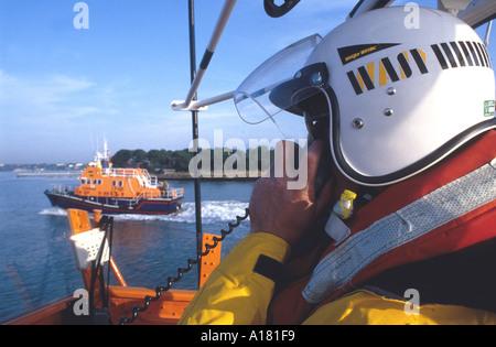 RNLI British lifeboat VHF communications - Stock Photo