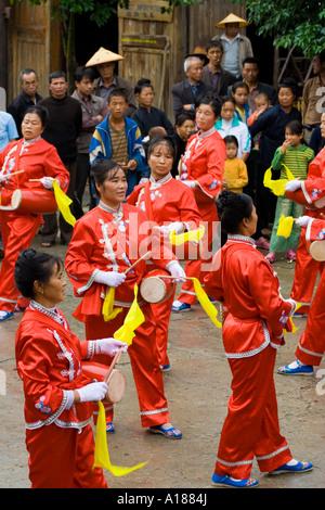 Female Chinese Traveling Marching Band Zhaoxing China - Stock Photo