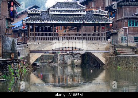 2007 Wind and Rain Bridge in the Ethnic Minority Dong Town of Zhaoxing China - Stock Photo