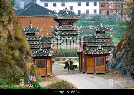 Main Gate at the Dong Ethnic Minority Traditional Town of Zhaoxing China - Stock Photo