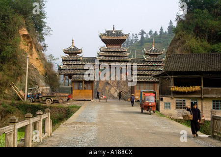 Main Gate in the Ethnic Minority Dong Town of Zhaoxing China - Stock Photo