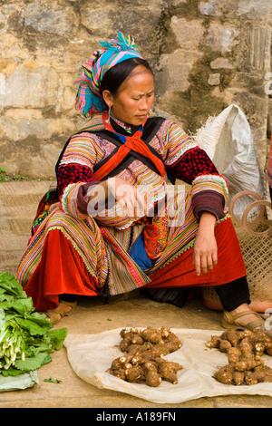 2007 Flower Hmong Woman Selling Produce Bacha Market Near Sapa Vietnam - Stock Photo