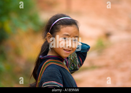2007 Cute Young Hmong Girl in Traditional Clothing Sapa Vietnam - Stock Photo