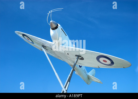 Model Of the Original Prototype Spitfire Outside Southampton Eastliegh Airport where the first ever Spitfire flight - Stock Photo