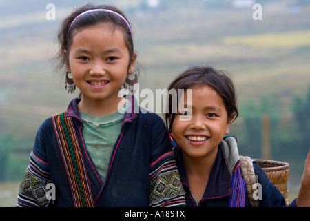 2007 Two Beautiful Young Hmong Girls Wearing Traditional Clothes Sapa Vietnam - Stock Photo