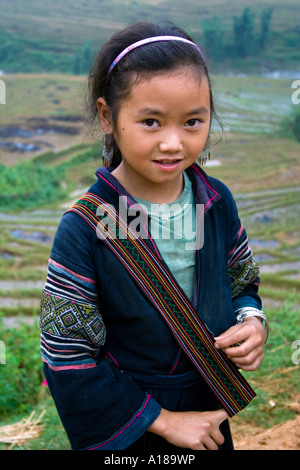 2007 Beautiful Young Girl Wearing Traditional Clothing in the Hills near Sapa Vietnam - Stock Photo