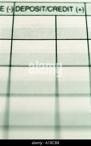 Close up of checkbook register showing deposit column SIMILAR IMAGE A18CC6 - Stock Photo