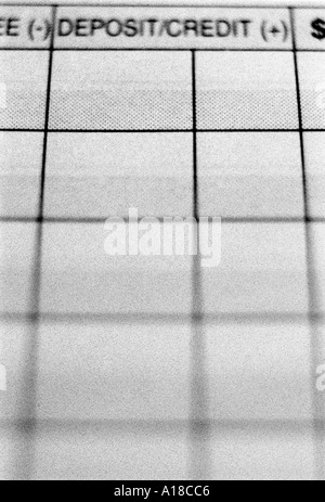 Close up of checkbook register showing deposit column SIMILAR IMAGE A18CB8 - Stock Photo