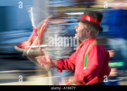 Juggler Performer Walking In A Parade With Motion Blur Showing Action And Movement, Ambler Pennsylvania USA - Stock Photo