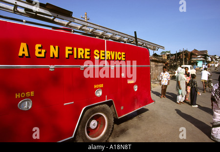India South Andaman Island Port Blair Fire Engine in Aberdeen Bazaar after 1996 fire - Stock Photo