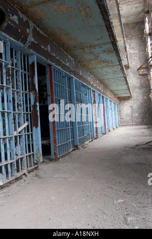 Old cell block in abandoned prison Nebraska Department of Correctional Services Nebraska USA - Stock Photo