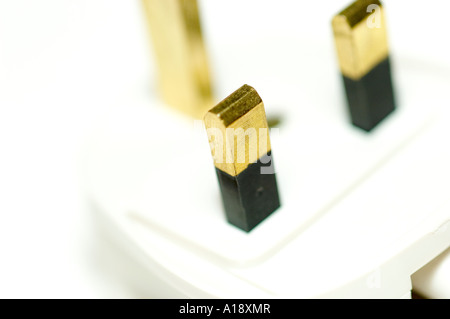 Close up of white electric 3 three pin plug UK - Stock Photo