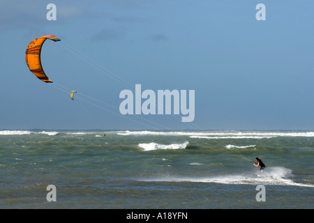 Kite Surfing in Maui, Hawaii in December 2006 - Stock Photo