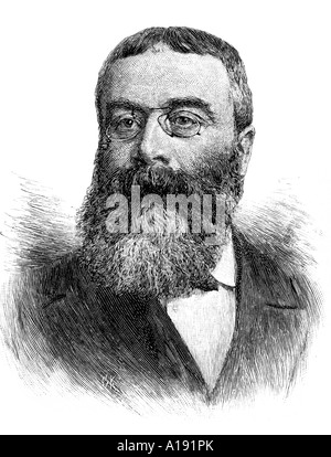 engraving of 19th century English novelist and historian Sir Walter Besant - Stock Photo