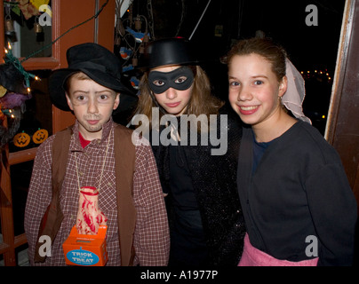 Halloween kids trick and treaters age 10 in costume. St Paul Minnesota MN USA - Stock Photo