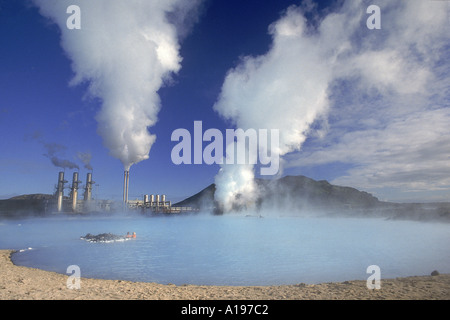 Geo Thermal power plant in the Svartsengi Black Field Area Its Blue lagoon is popular with bathers amp good for - Stock Photo