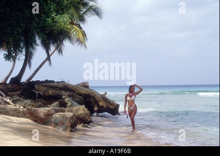 Girl Woman on Tropical Island Shore in the Caribbean - Stock Photo