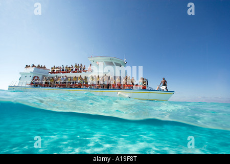 Under over session at Sandbar North Sound Grand Cayman Cayman Islands - Stock Photo