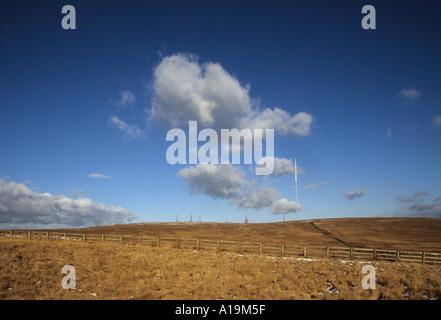 TV transmitter for North West of England on Winter Hill in Rivington Lancashire - Stock Photo