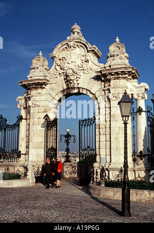 The baroque gateway to Buda Castle Palace Budapest Hungary - Stock Photo