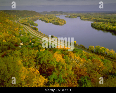 Mississippi river along great river road quad cities illinois iowa aerial view of great river road along the mississippi river with fall foliage view from great sciox Images