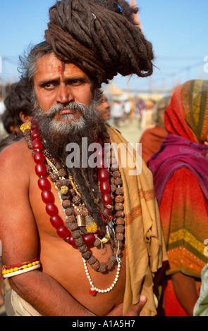 Naga sadhu from the Juna Akhara with long dreadlocks, Maha Kumbh Mela 2001, Allahabad, Uttar Pradesh, India - Stock Photo
