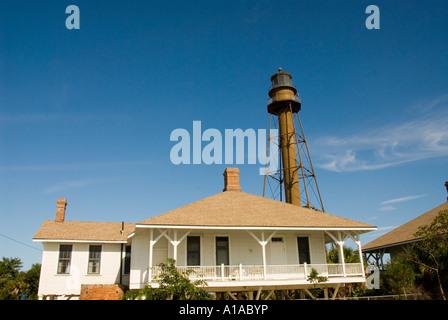 Florida Sanibel Island lighthouse tower and light - Stock Photo