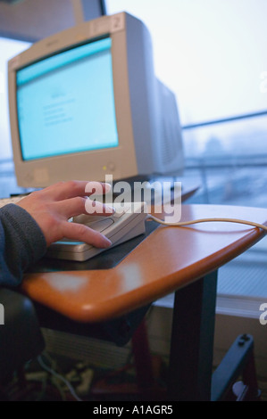 Someone using a specially adapted computer - Stock Photo