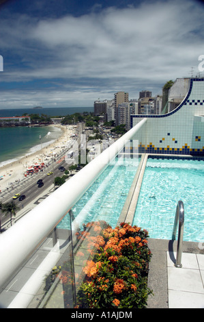 Views down Atlantica Ave and Copacabana Beach with the swimming pool of the Luxor Regente Hotel in Rio De Janeiro - Stock Photo