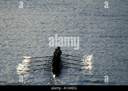 USA Washington Seattle Rowing team warms up at sunrise on Lake Union before Windermere Cup Race - Stock Photo